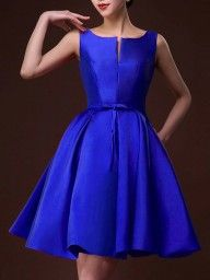 Shop Red Plunge Neck Bowknot Waist Lacing Back Prom Skater Dress from choies.com .Free shipping Worldwide.$48.99