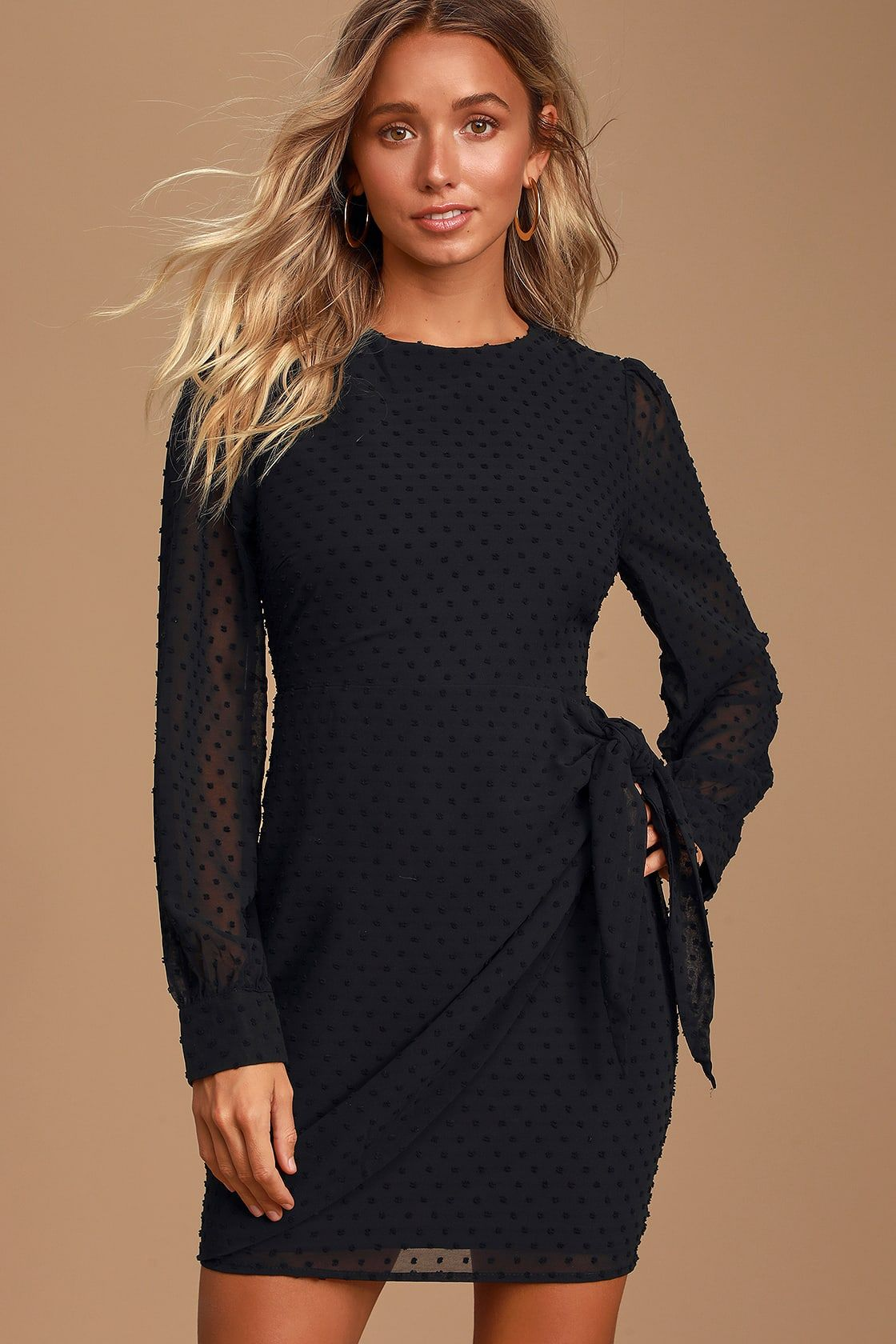 Much Love Black Swiss Dot Long Sleeve Tie Front Mini Dress
