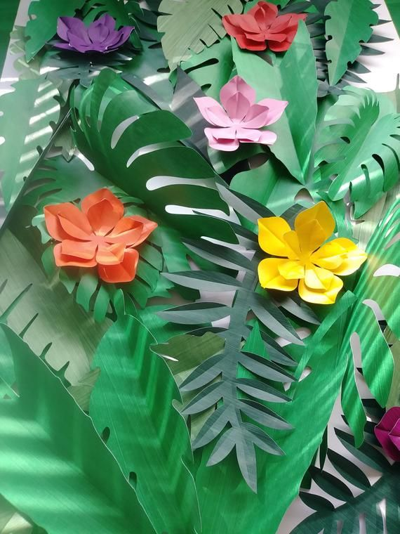 Tropical Leaves 30 Large Paper 6 Small Tropical Flowers