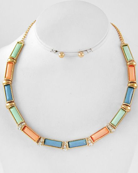 Gold Tone / Multi Color Acrylic / Clear Rhinestone / Lead/nickel Compliant / Necklace / Post Earring Set