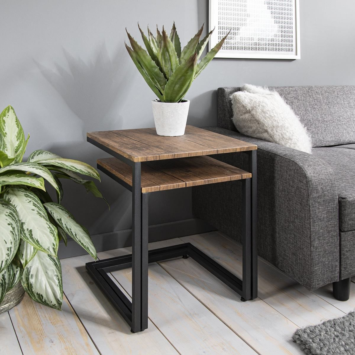 Industrial Nest Of Tables Wood Effect Metal Living Room Table Living Room Coffee Table Living Table