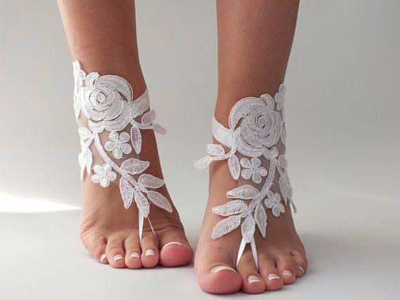 2d610275fd51 Beach wedding Barefoot Sandals White Lace Barefoot Sandals White Bridal  Shoes