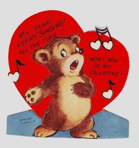 vintage single layer bear singing valentine greeting card - Singing Valentine