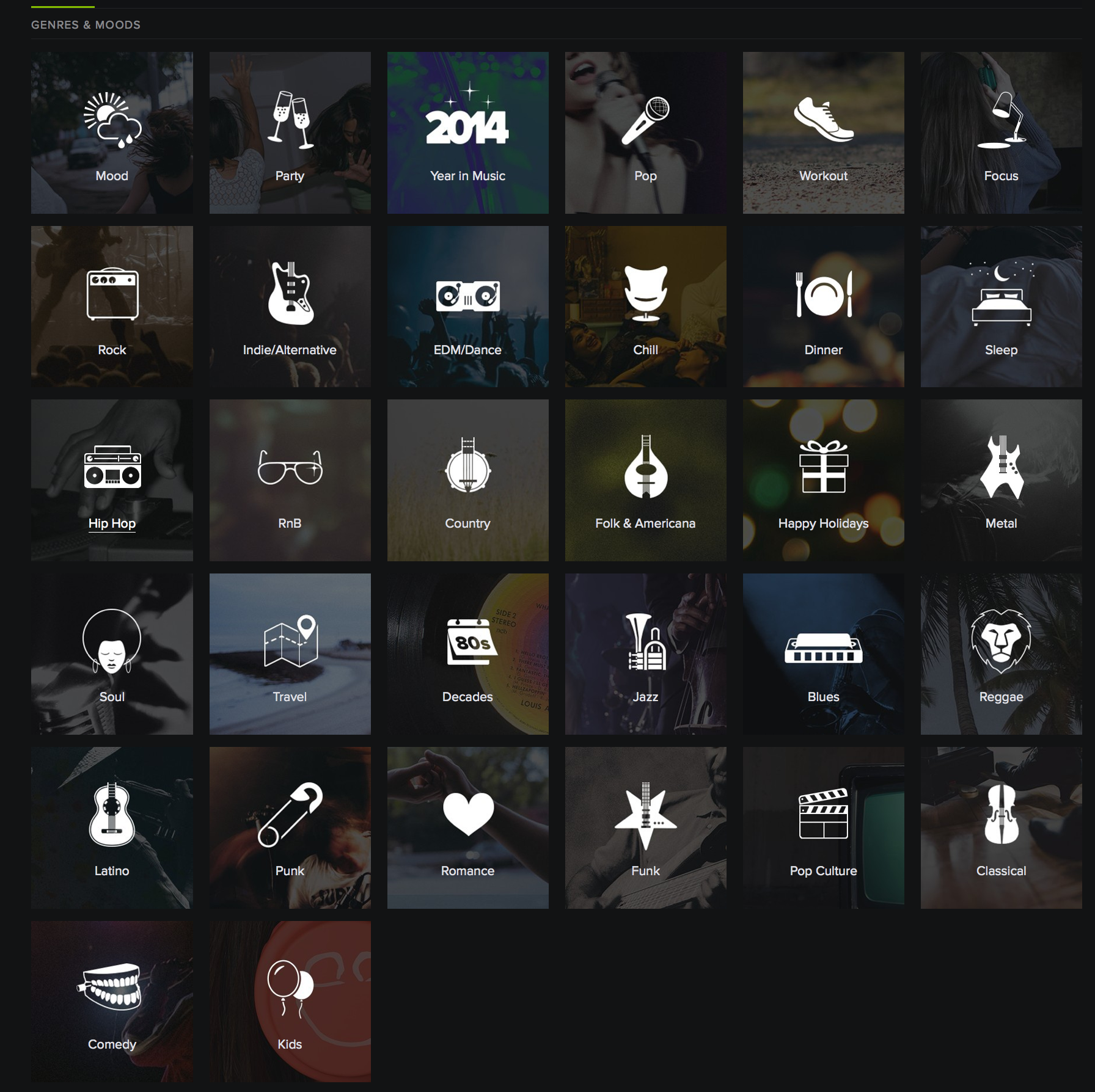Genre icons Spotify | DJ | Interactive design, Mobile ui