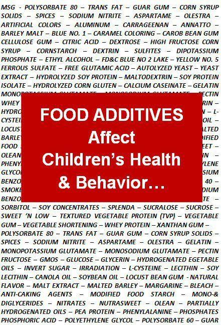 Food Add Kid Health Behavior Additive Children Essay