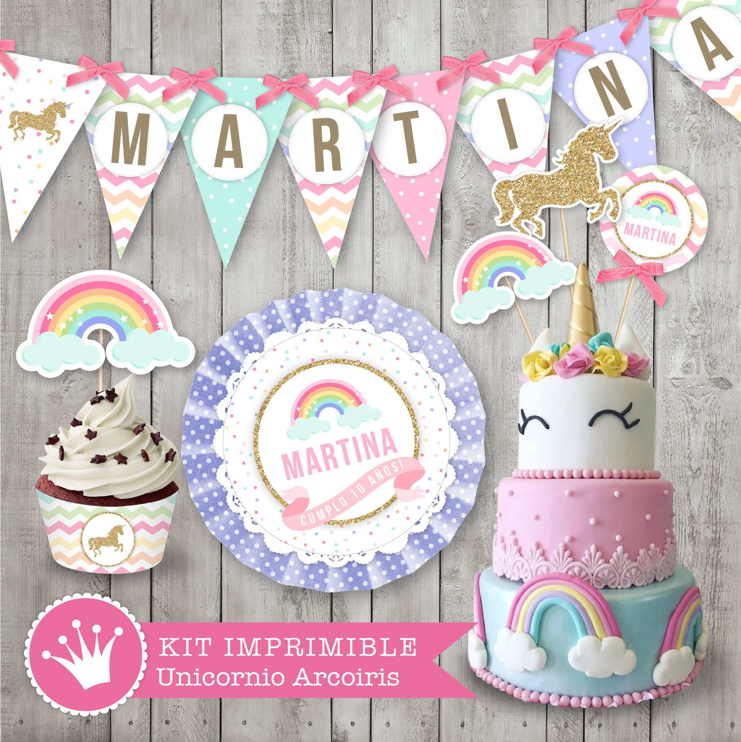 Kit imprimible unicornio y arcoiris decoraci n para - Decoracion estilo shabby chic ...