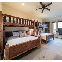 Twin Barnwood Loft Over Queen   Perpendicular Bunk Bed Set