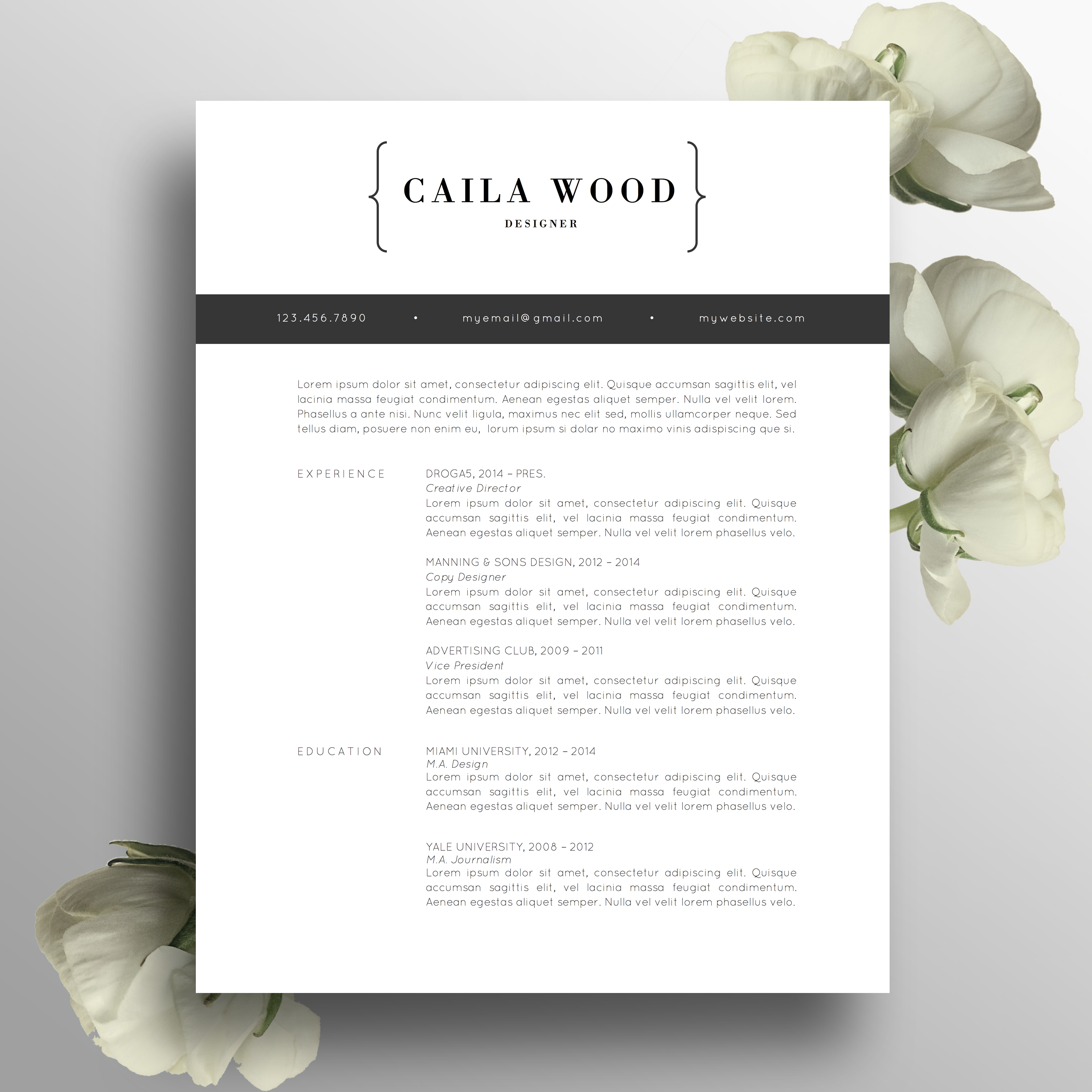 Modern Professional Resume Template  CV Template  Cover Letter US Letter A4 MS Word Simple