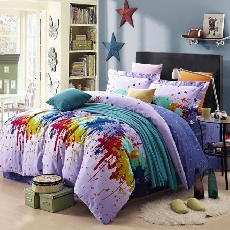 Navy Blue Red And Yellow Bright Colorful Paint Splatter Graffiti Print Fashion Girls And Boys 100 Brushed Cotton Full Size Beddi Bedding Sets Bed Painted Beds