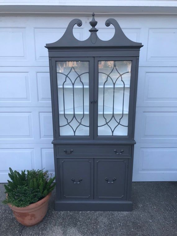 Blend Gray China Cabinet In 2020 Grey China Cabinet China Cabinet Painted China Cabinets