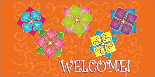 Vibrant decorative welcome card orange background and cards vibrant decorative welcome card recycled greeting cards from brookhollow m4hsunfo