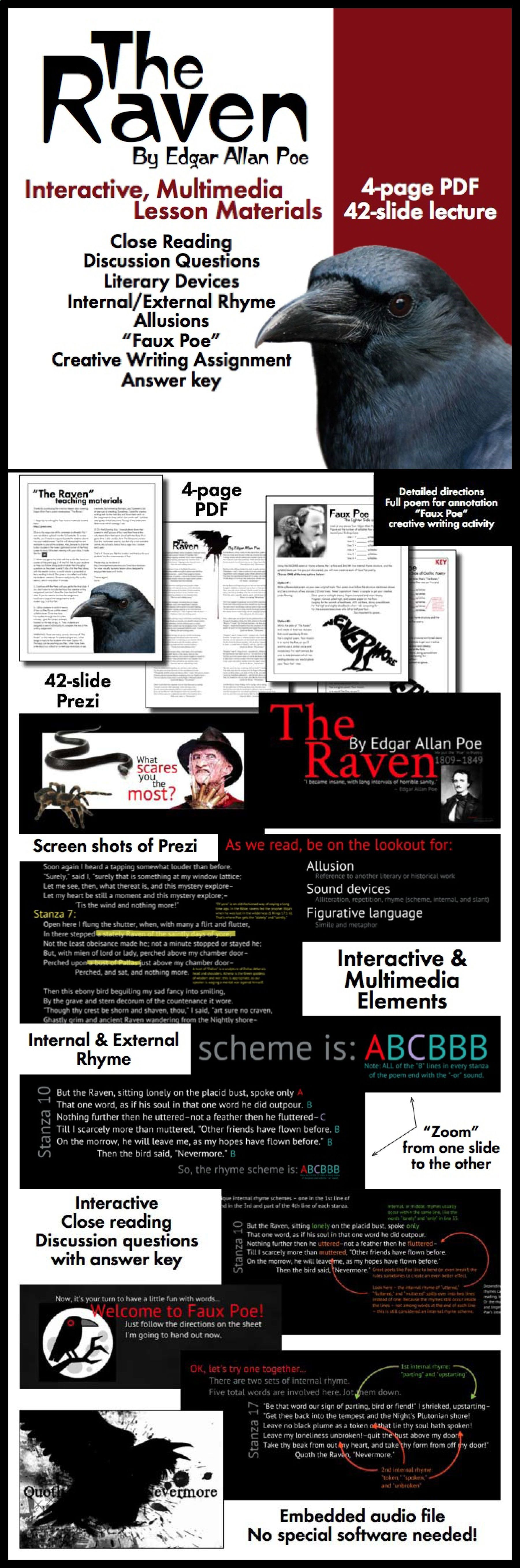 Use Interactive Multimedia Material To Pull Your Student Into Edgar Allan Poe Classic Tale Of Lost Love Teaching Literature Writing Services The Raven Poem Annotated