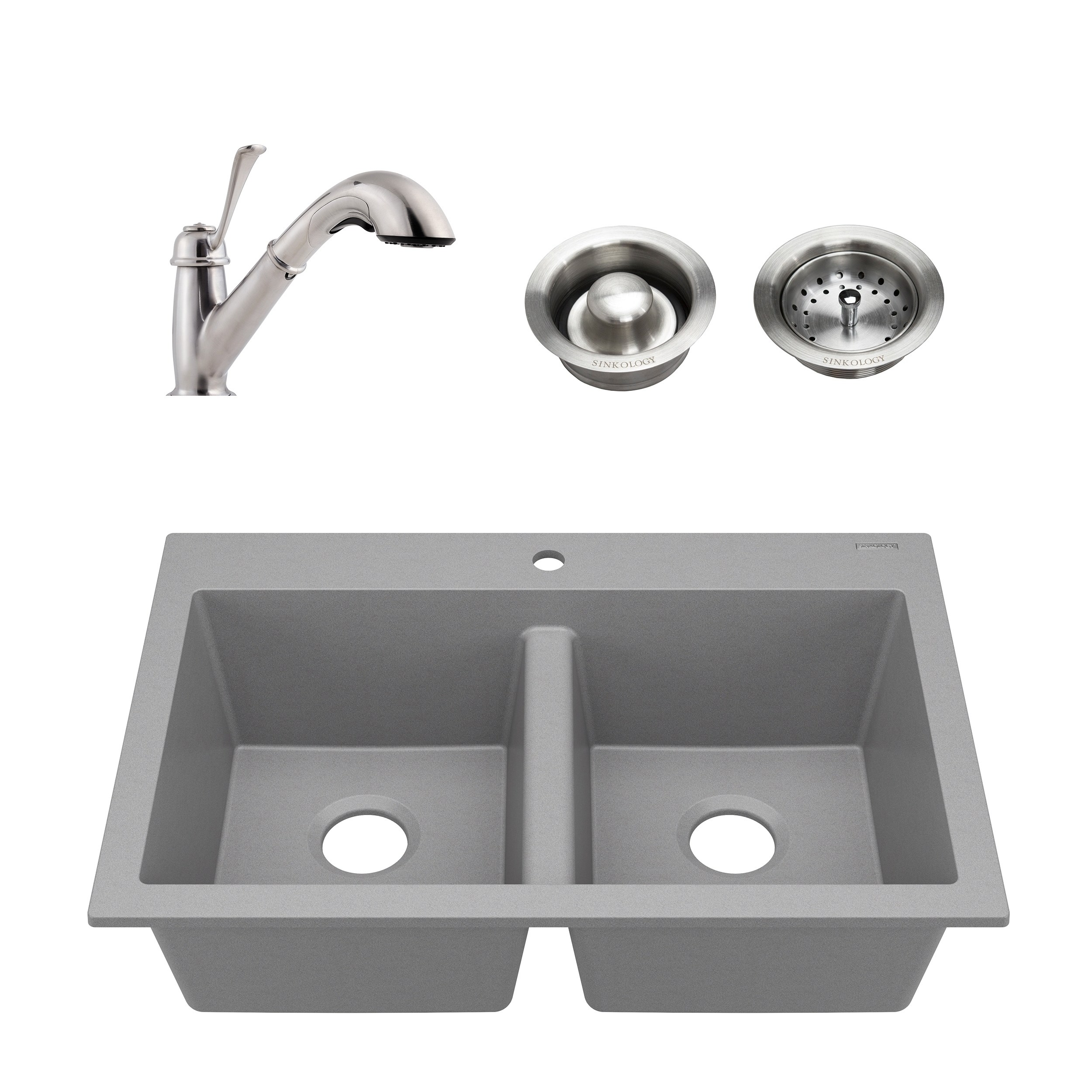 Whitney Gray All In One Granite Composite Sink And Pfister Bixby
