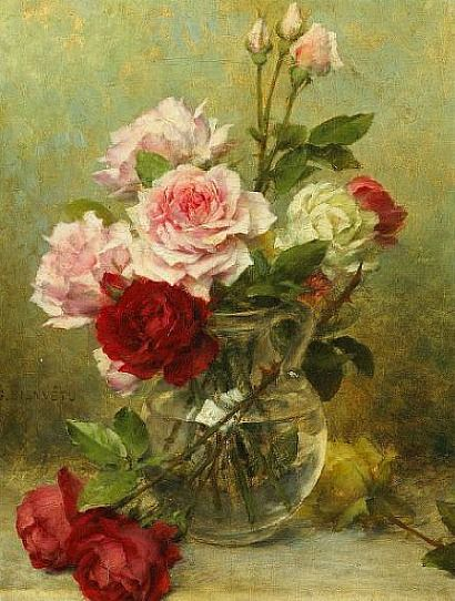 Gustave Bienvêtu  Vase of Roses  Early 20th century