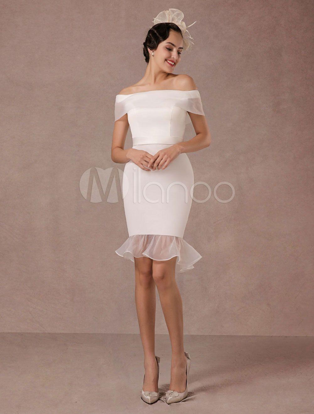 Off white short wedding dresses  Short Wedding Dress Mermaid Offtheshoulder Satin Vintage Wedding
