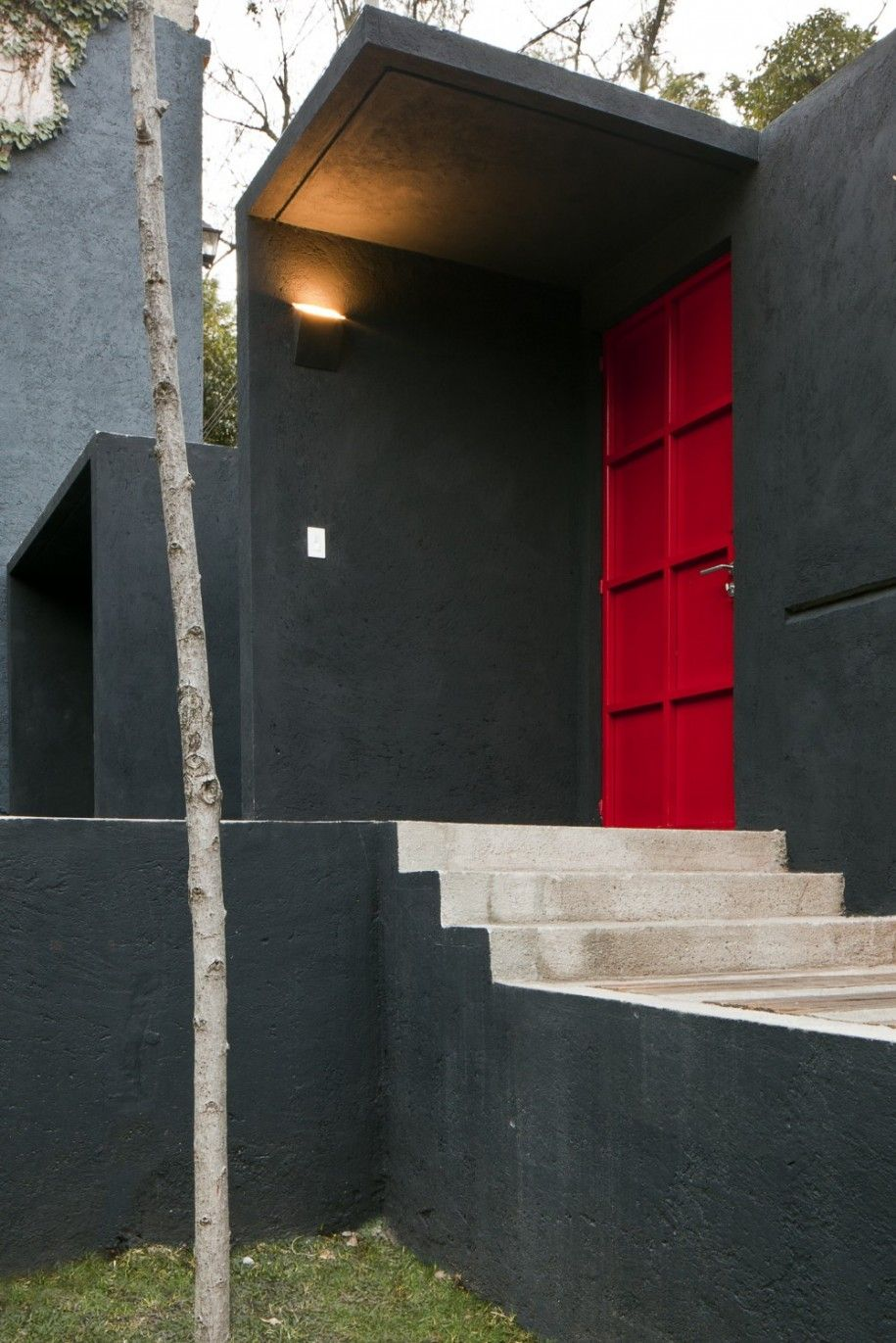 Interesting residence design with modern style great exterior calero house grey wall and red door minimalist outdoor staircase also rh pinterest