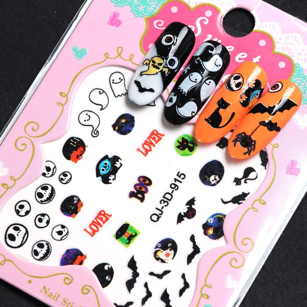 1sheet halloween nail art stickers water transfer new 3d grey cute bat nail art sticker manicure