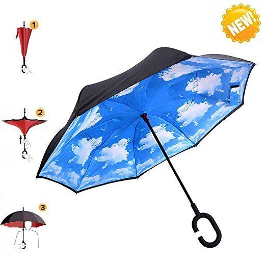 Umbrella, AIGUMI Impermeabile Pieghevole Ombrello Multifunzionale (Sky Blue)