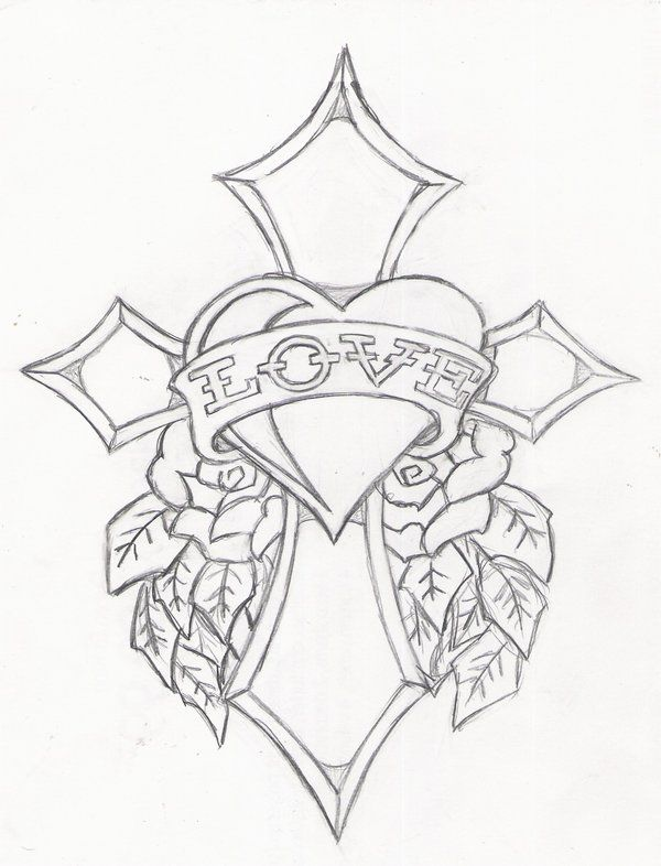 Ed Hardy Drawings Designs Sketch Coloring Page Cross Drawing Cross Coloring Page Heart Coloring Pages