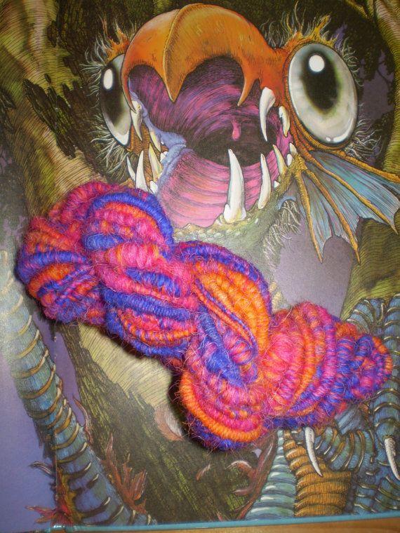 Jabberwocky Hand Spun Elastic  Art Yarn OOAK by InTheEyesofMarch, $40.00