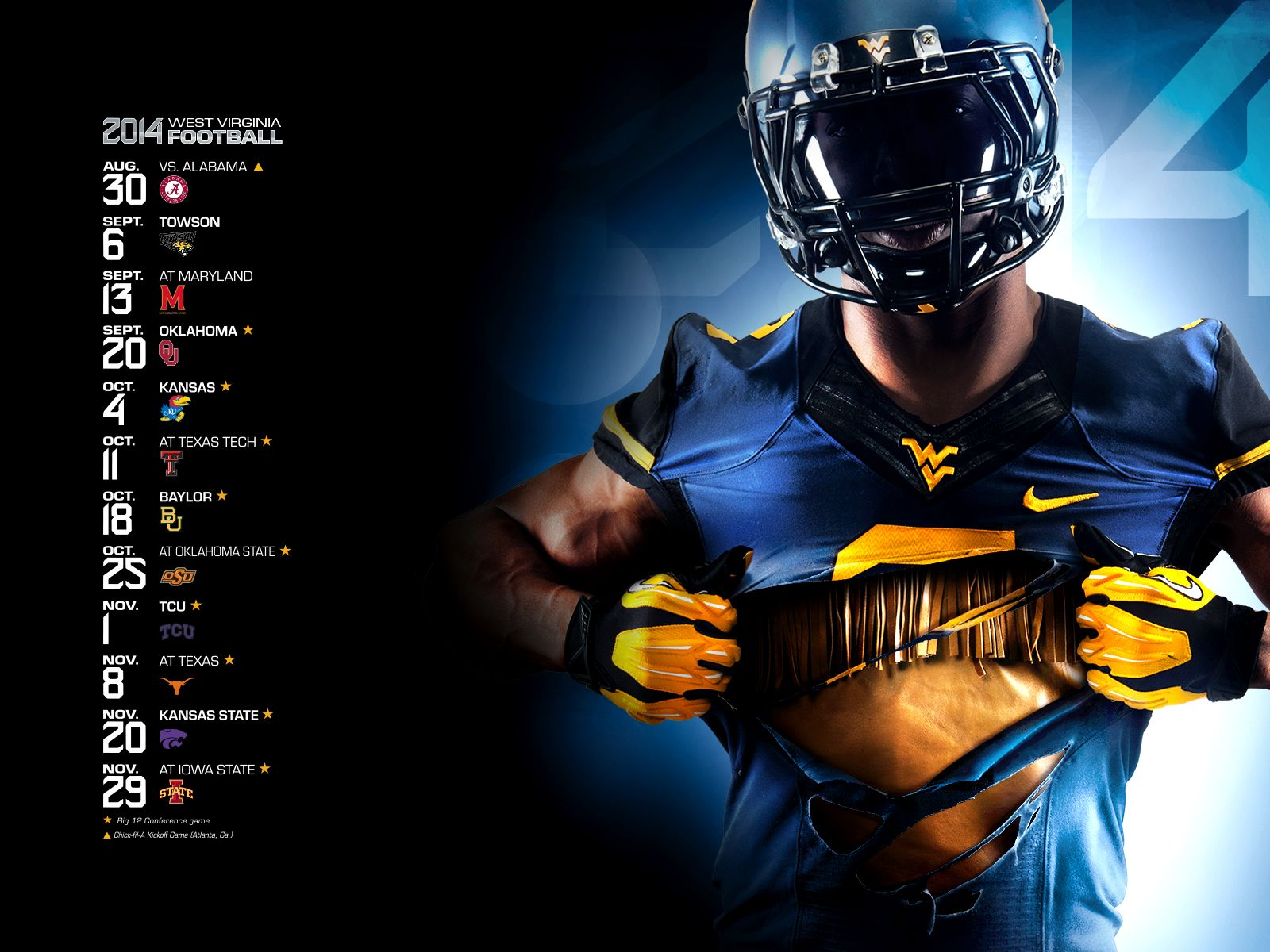 1600 x 1200 2014 Mountaineer football schedule poster