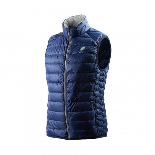 This men's ultralight sleeveless down feather blue vest with grey lining features a horizontal quilting pattern enhanced by a hexagonal motif down the sides, a characteristic of the Automobili Lamborghini collection. It is made of nylon and goose-down padding.