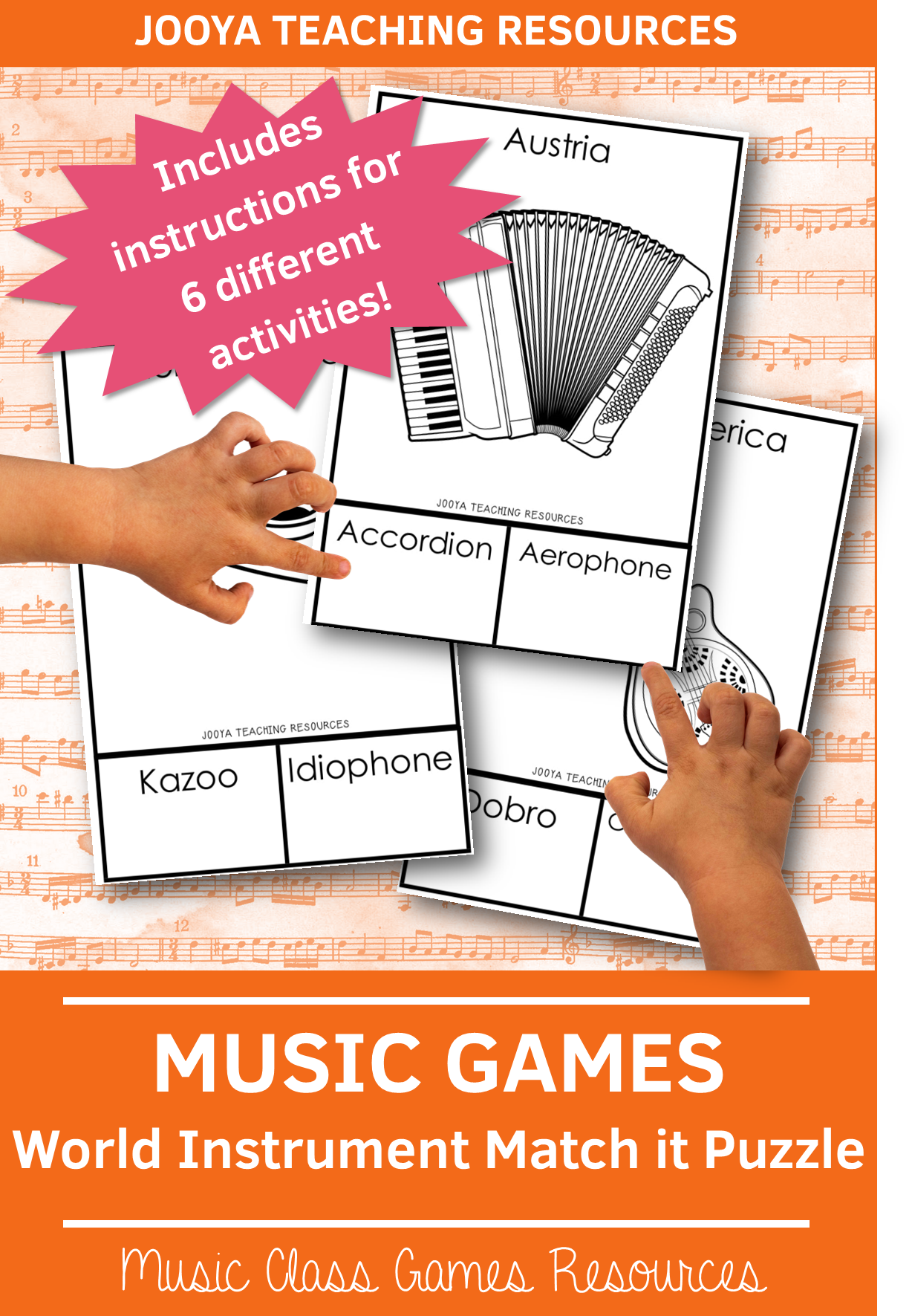 World Instruments Match It Puzzle Cards In