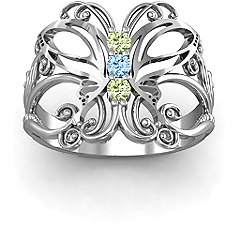 Precious Butterfly Mother's Ring #jewlr