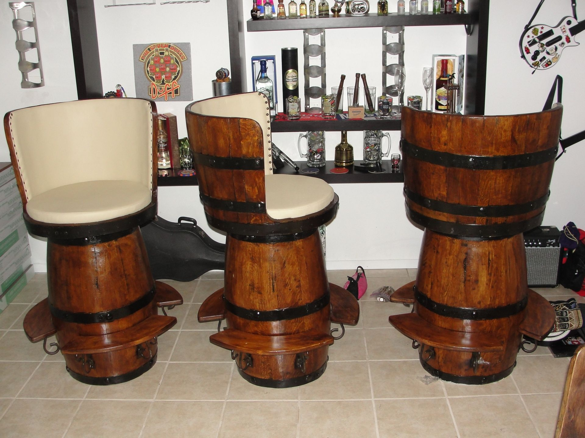 Huge Bar Stools Made Out Of Tequila Barrels. Great For Your Man Cave!