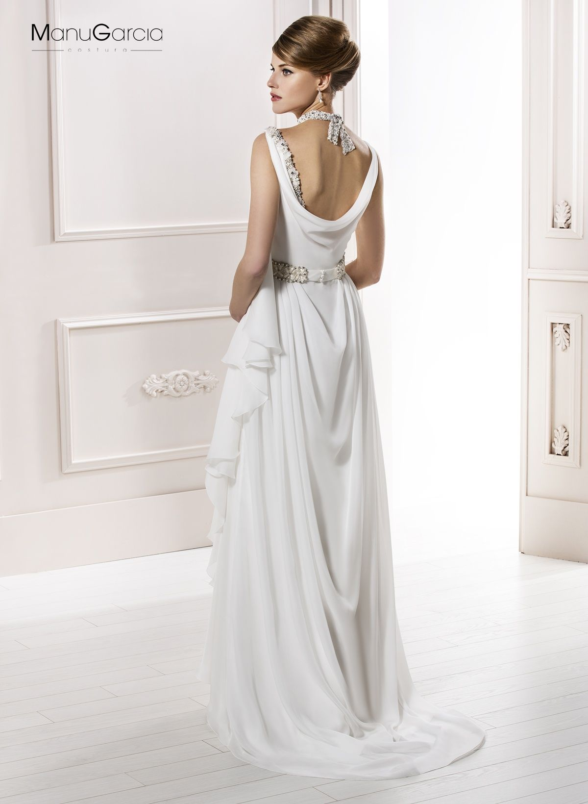 f0a6a90ed Vestido de novia estilo griego de gasa  byManuGarcía