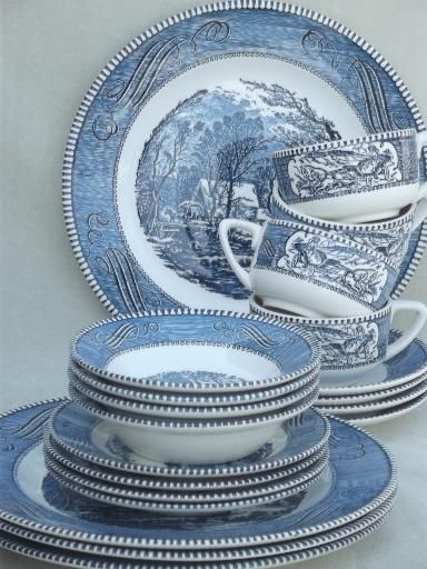 vintage Currier \u0026 Ives blue and white china dishes dinnerware set for 4 & vintage Currier \u0026 Ives blue and white china dishes dinnerware set ...