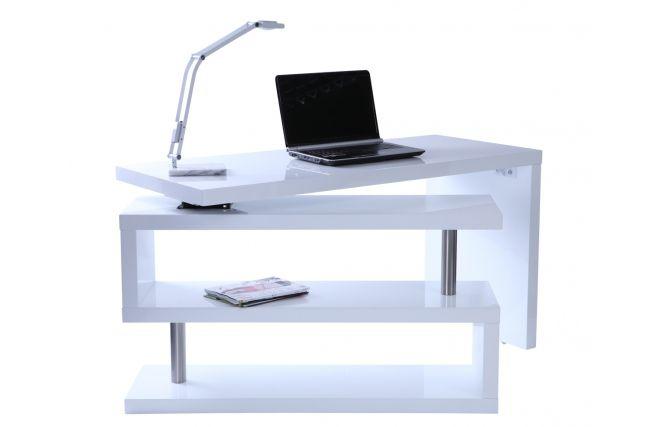 Bureau design blanc laqué amovible max zoom cabinet