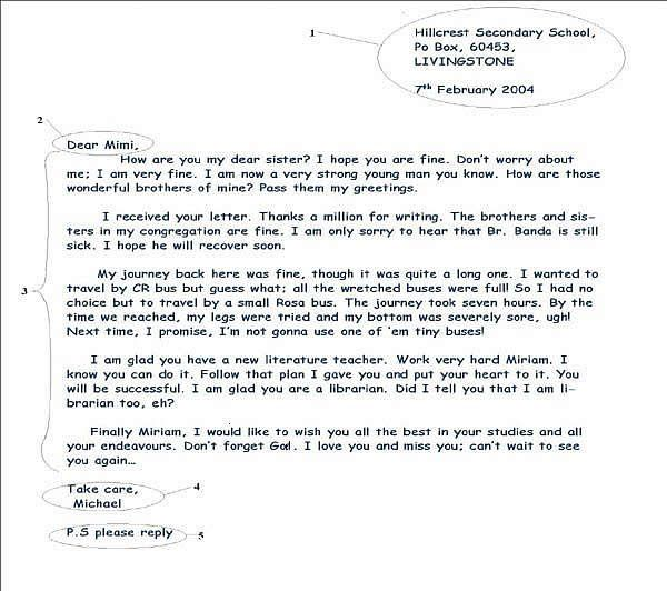 sample friendly letter - follow for Rose Grammar assignment Things