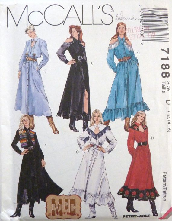 Mccalls 7188 Sewing Pattern Country Western Style Dress Craft