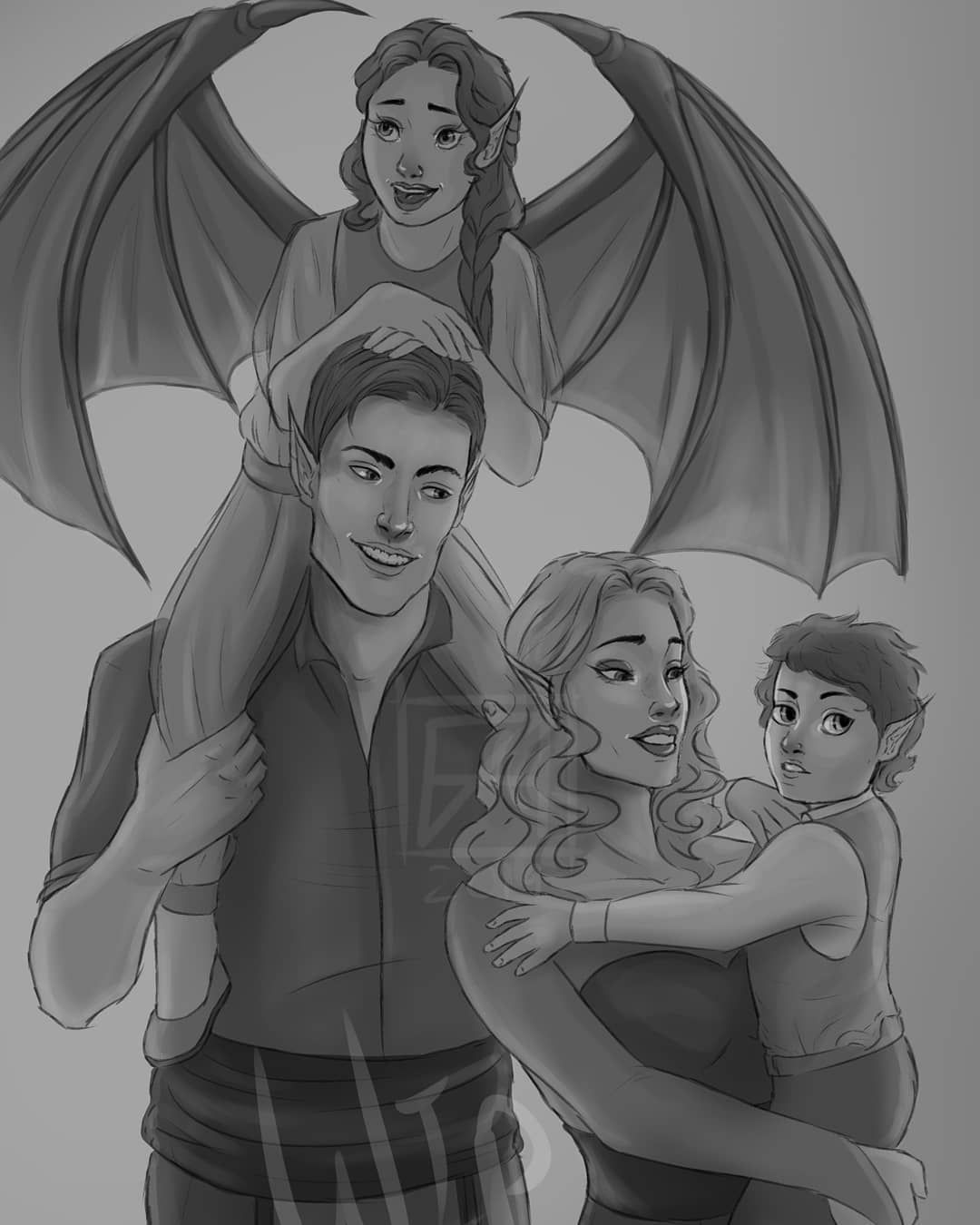 "Jessica L on Instagram: "">>> swipe for details >>> . . . . MMMMmmm more #ACOTAR fanart because it makes me happyyyy~ I really wanted to draw #Feyre and #Rhysand out…"""