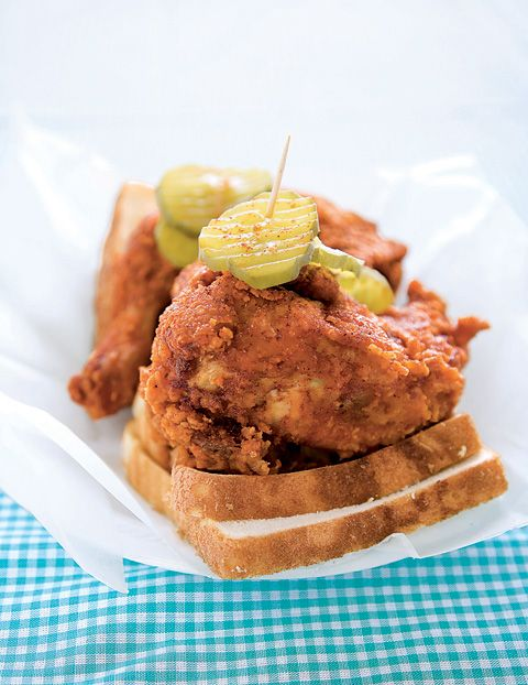 fried chicken, white bread and dill pickles!
