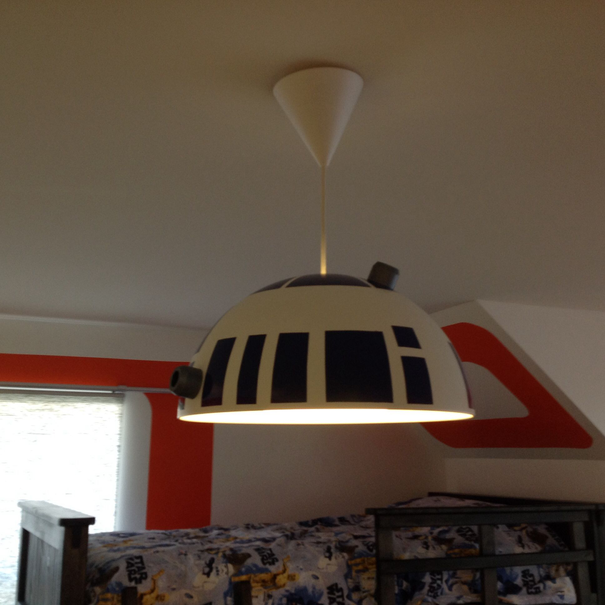 star wars inspired bedroom for 7 year old boy r2d2 pendant light made from ikea light fixture. Black Bedroom Furniture Sets. Home Design Ideas