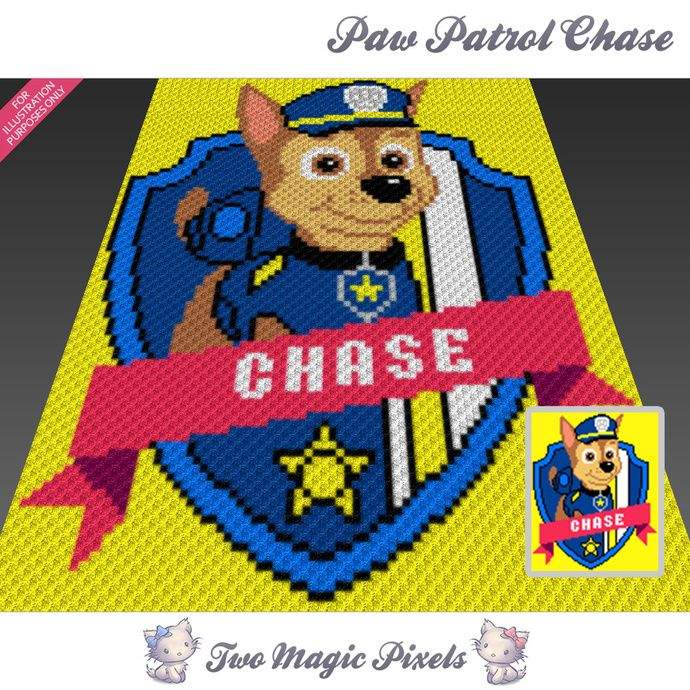 Paw Patrol Chase crochet blanket pattern; c2c, cross stitch; graph ...