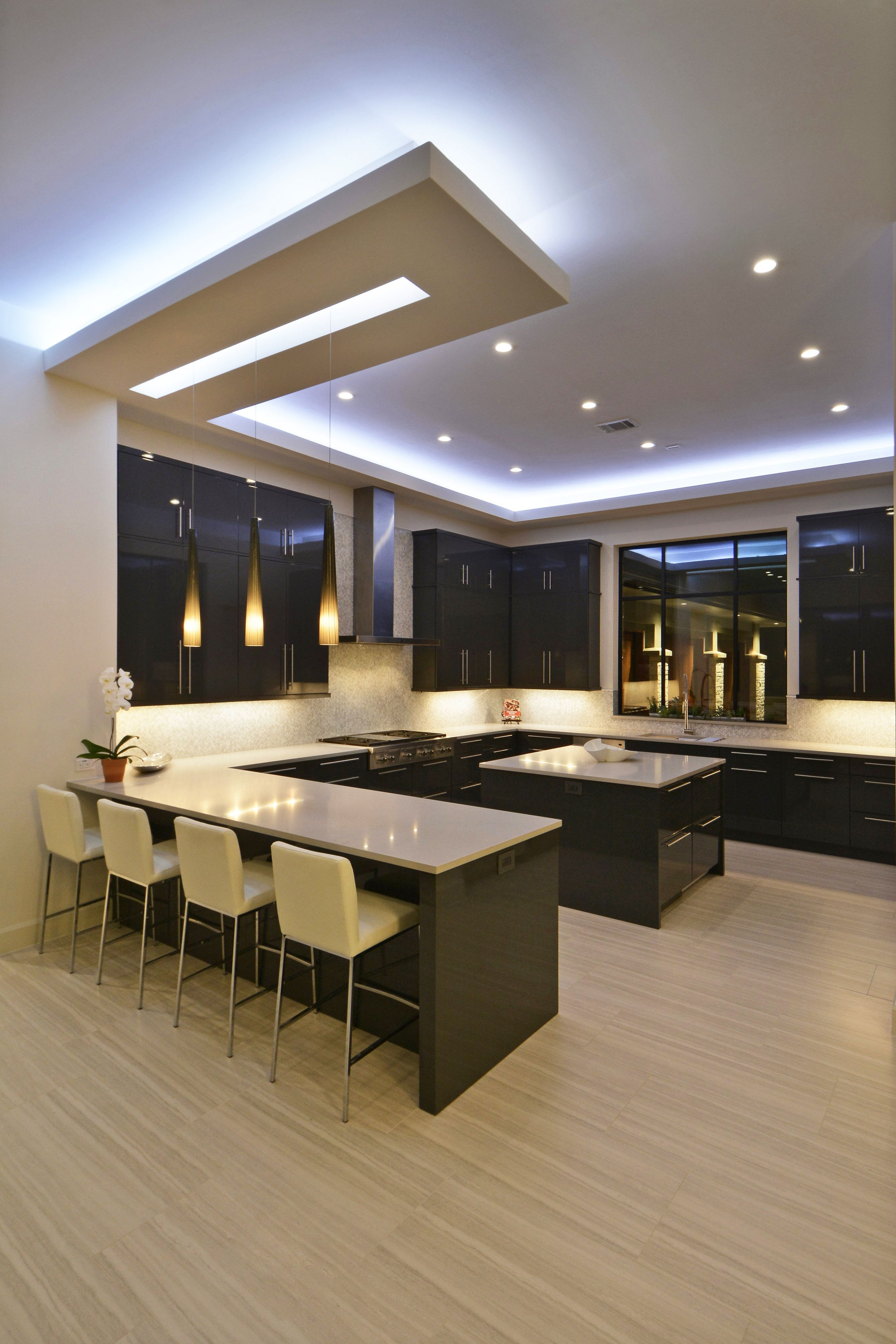 Contemporary Modern Kitchen With Wrap Around Bar Large Island And