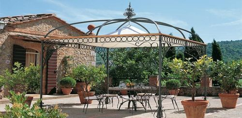 Gazebo In Ferro Battuto Roma.Wrought Iron Gazebo Fabric Coverings Tibisco Unopiu