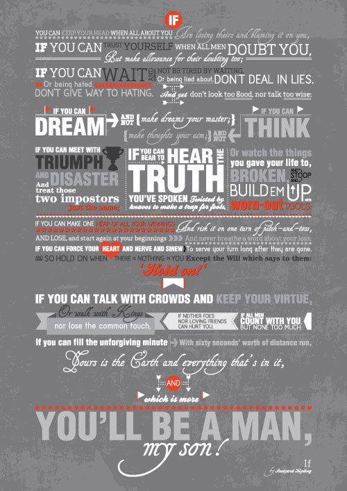 Rudyard Kipling Inspirational Poem Quote If Typography Art Poster