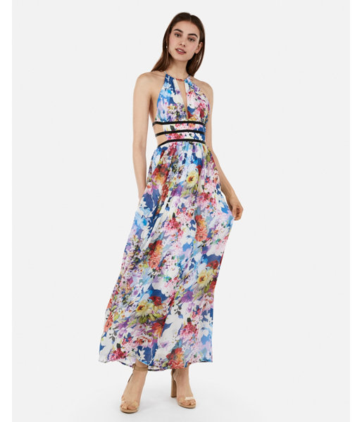 3ca45f8cdf29f Floral Strappy Side Plunge Cut-Out Maxi Dress Blue Print Women's XXS ...