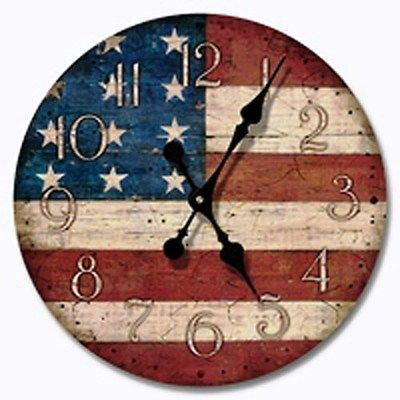 Patriotic Grand Old Flag Wall Clock And It S Made In The Usa Americana Crafts Americana Decor Clock