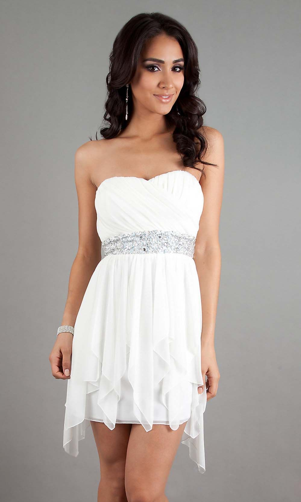 short high low chiffon white prom dress cheap prom dresses