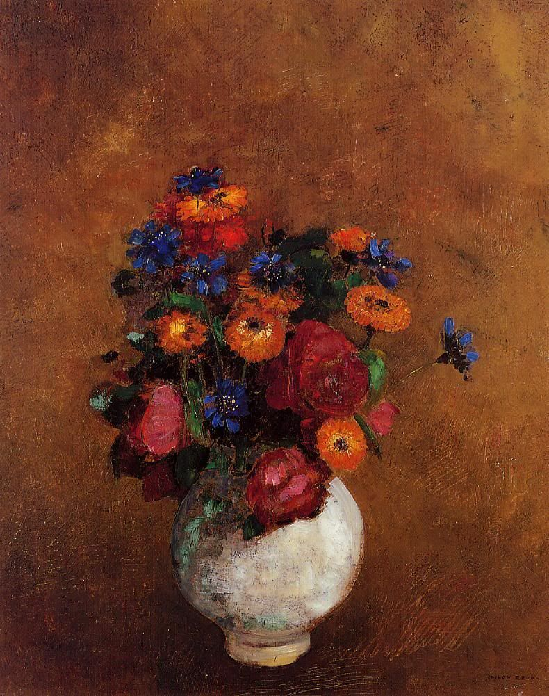 """poboh: """" Bouquet Of Flowers In A White Vase, Odilon Redon. """""""