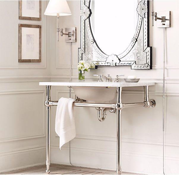 Rh S Gramercy Single Metal Washstand Custom Sinks That Balance Clic Style And Modern Flair