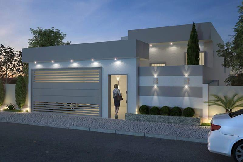 Plano de casa moderna de un piso proyecto 1 en 2019 for Casas modernas de una planta minimalistas