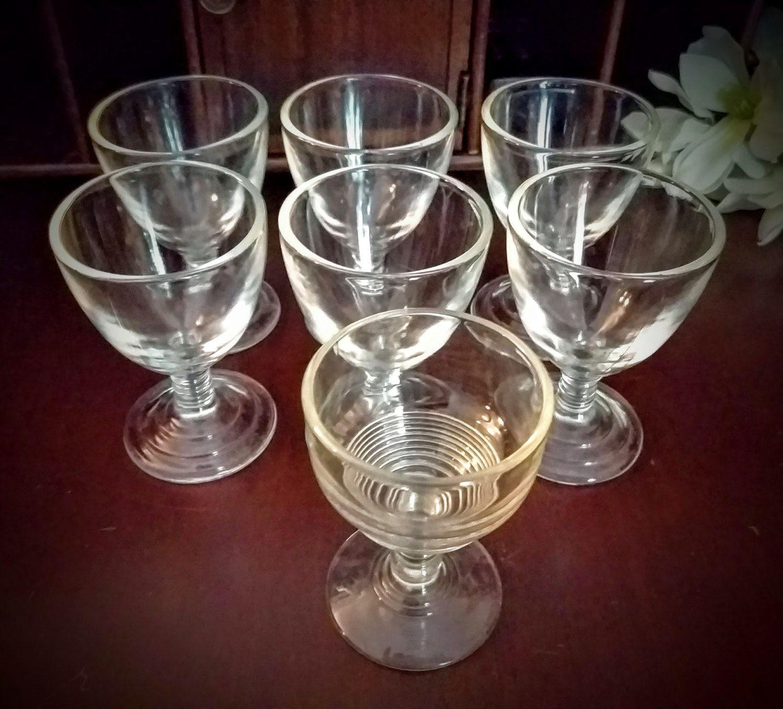 Anchor Hocking Cordial Glasses Manhattan Pattern Set Of 6 Plus 1 Federal Glass Cordial Glasses Glass Anchor Hocking