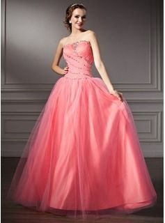460c4cfd2cd A-Line Princess V-neck Floor-Length Satin Tulle Quinceanera Dresses ...