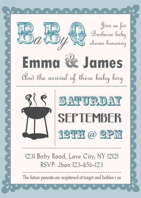 Baby Shower BBQ invitation couples   boy or girl by PartyJony, $6.90